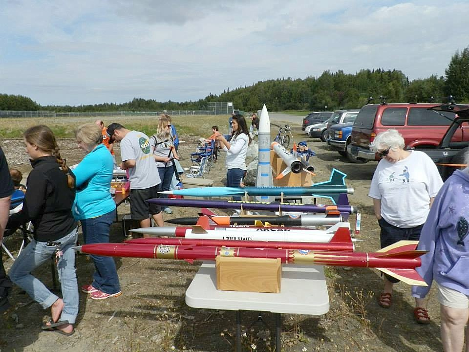 Here are some of the high power rockets (HPR) on display at the Northstars' outreach event held on August 8th, 2015. Photo by Rebecca Hardcastle.